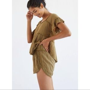 Anthropologie Daily Practice Olive Green Gauzy Cover Up Shorts XL New